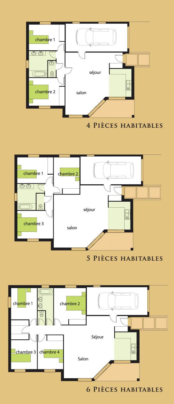 Duos bati terre batiterre for Plan de maison 5 pieces